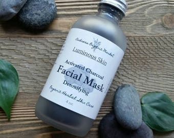 Organic Activated Charcoal Facial Mask, Organic Purifying Face Mask, Detox Facial Mask. Organic Facial Care, Natural Skin Care
