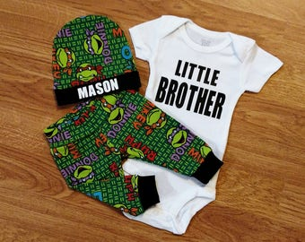 Personalized LITTLE BROTHER, baby boy, coming home outfit, custom hat, personalized hat, baby shower gift, bodysuit