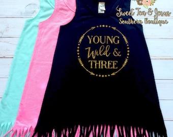 Young Wild and Three - Fringe Dress - Girls Birthday Dress - Third Birthday Dress - Toddler Third Birthday Fringe Dress  - Wild and Three