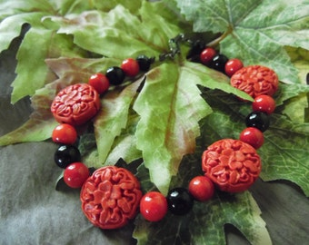 Handmade Beaded Bracelet Red And Black 9 Inches