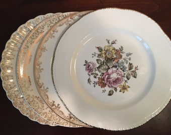 Mismatched China Dinner Plates - Set of 4 - Collection #111 / 22 Karat Gold Leaf Vintage Dinnerware / Floral Dish Set