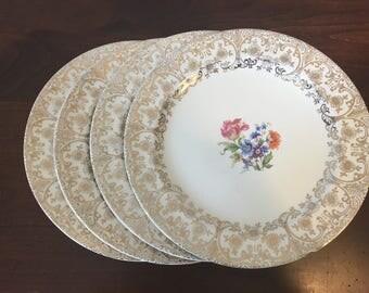 Homer Laughlin China Eggshell Nautilus Salad Plates - Set of 4 / Warranted 22 Karat Gold Floral Dinnerware