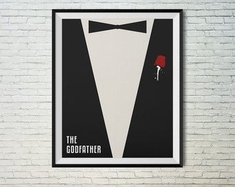 The Godfather movie poster with red rose. Wall art printable poster instant download print. 8x10