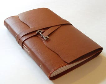 """5x7"""" Camel Rustic Journal with Key Charm"""