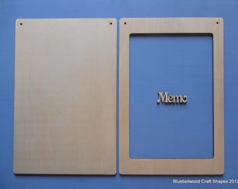 Wooden unpainted Blackboard Memo Board kit 30cm x 20cm