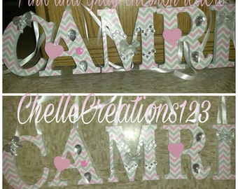 5 in Pink and Gray Chevron pattern letters(**48 HOUR SALE**)