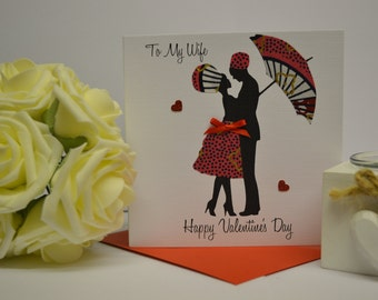 "African Fabric/Ankara/Wax Print Valentines Cards (6"" square) - Wife"