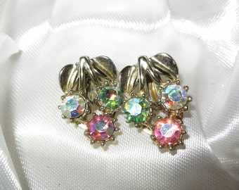 Lovely vintage 1950s Art Deco pastel rhinestone clip on earrings