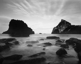black and white, monochrome print, landscape print, japanese wall art, landscape art, rocks and sea, long exposure, beach print