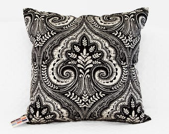 Black Print Pillow Cover, Decorative Pillow Cover in Modern Black and Natural Print