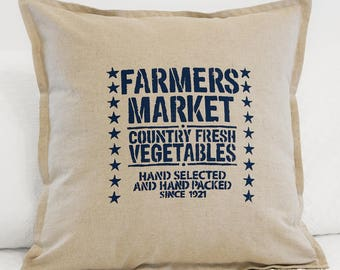 Farmers Market Stenciled Pillow Cover in Natural Linen and Cotton Blend, Farmhouse Style Stenciled Pillow Cover with Zipper