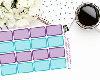 Planner Stickers | Cool Winter Castle Half Boxes|Blue and Purple Half Box Stickers|For use in a variety of planners and journals|BPW01