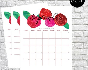 Printable Calendar 2017, Floral Calendar, Floral Wall Calendar, Monthly Calendar, Watercolor Flower, Roses, Monthy planner, letter size