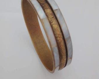 Vintage brass and mother of pearl bracelet