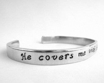 He Covers Me with His Feathers Psalm 91:4 Bracelet, Faith Jewelry, Hand Stamped Scripture Bible Verse Cuff, Comfort Message Christian gift
