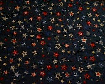 Americana: Red, White & Blue Stars (blue background); sold by the yard