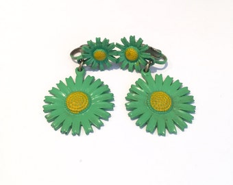 Vintage Green And Yellow Flower Earrings
