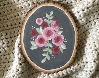 Floral Painted Wood Slice | Rustic Home Decor