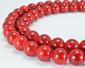 Red Glass Beads Round 12mm Shine Round Beads For Jewelry Making Item #789222045746