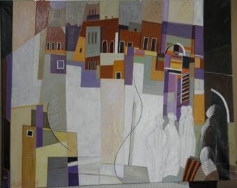 """""""""""Travel prints""""oil painting Morocco"""" 93 cm x 73 cm canvas stretched on wooden frame"""
