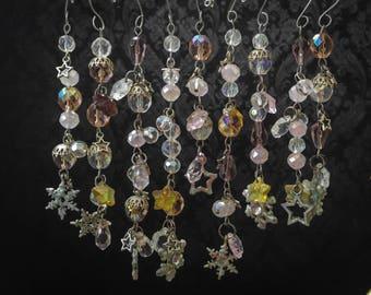 Beaded Snowflake Winter Ornaments, set of 9