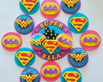 Girlie Superhero cupcake toppers x 12 and cake topper kit - batgirl supergirl wondergirl winderwoman
