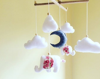 Baby mobile- crib mobile- baby girl mobile- nursery mobile- elephant mobile-Elephant, cloud and moon mobile -Floral nursery