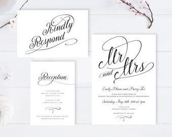 Cheap Wedding Invitations Packs Printed / Simple Calligraphy Wedding  Invitation + Rsvp Postcard + Info Card
