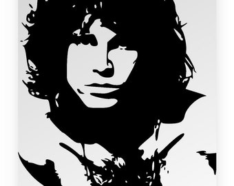 Jim Morrison. Mirror hand engraved, sandblasted and coloured spray.