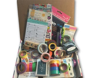 Grab Bag of Planner Supplies — Almost 2lbs of Washi, Pens, Stamps, Stickers, etc. Tons of overstock from our Planner subscriptions box.