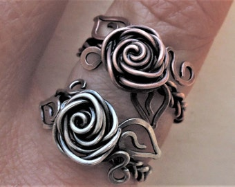 Silver rose ring - Copper rose ring - Wire wrap flower ring - Sterling silver 925 ring - Braided ring - Romantic gift for her