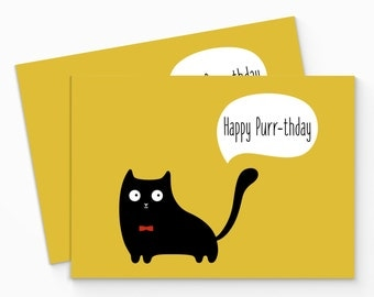 Printable Funny Cat Birthday Card. Digial Cat Birthday Card. Cute Cat Birthday Card. Happy Birthday Card. Instant Download. Cat Lover Card.
