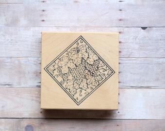 Vineyard Vines Grapes, Leaves, Square Floral Frame Border Collage Stamp/Border Floral Rubber Stamp Collage/Scrapbooking/Card Making Flowers