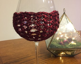 Shimmer Wine Cozy - Wine Red