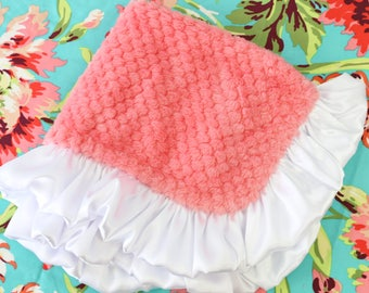 Coral with White Satin Ruffle Minky Baby Girl Lovie | Coral, White, Soft,  Minky Baby Girl Security Blanket