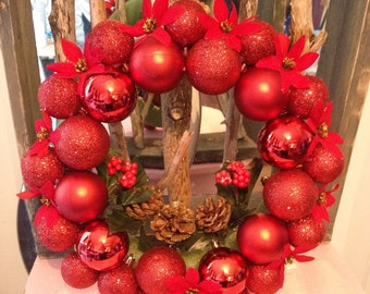 Red ornament Christmas wreath  pinecones  Christmas decorations glitter poinsettia flowers