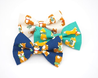 Shiba Inu Dog Print Japanese Imported - Attachable Bow Tie for Dogs & Cats