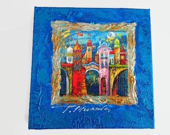 Tatyana Murova, painting acryl, painting Murova, fantasy city, mix technik, poster, T Murova, blue painting, painted blue city, fantasy city