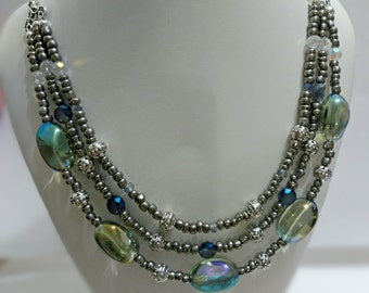 Pearl gray necklace, glass necklace