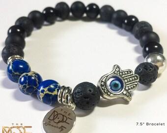 Black Lava Stone Bracelet, Jasper Bead Bracelet, Silver Plated Bracelet, Hamsa Hand Bracelet, Black Onyx Bracelet, Mens Beaded Bracelet 8mm