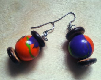 AFRICAN earnings wood orange blue and green gift for her christmas gift girlfriend
