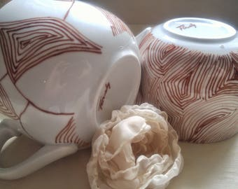 MR AND MRS mug brown and white soupe coffee tea custom wedding gift hand painted chic elegant geometric design ooak  big mug unique gift