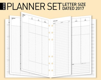 50% off Printable 2017 Planner Set/Letter size Mo2P+Wo2p Dated 2017, 12mth/2017 Planner Insert /2017 Monthly Weekly planner | Letter insert