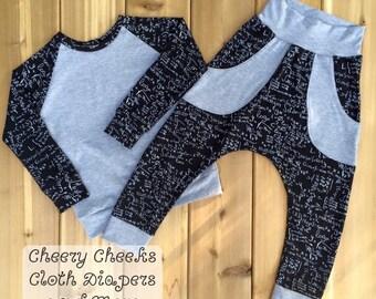 Raglan tee and harem pants set, Size 5, mathematics, black and white, grey, pockets, boys set, childrens shirt, childrens harem pants