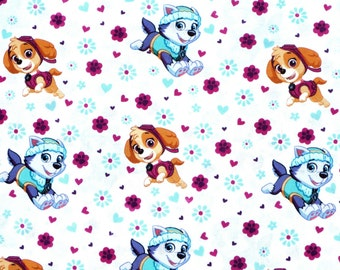 fat quarter WHITE  PAW PATROL   100% rubble spin master   Character Cotton Fabric david textiles