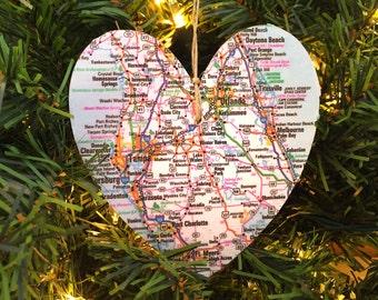 Florida Map Ornament, Florida Ornament, Florida Christmas Ornament, Florida Map Christmas Ornament, Orlando Map Ornament, Tampa Bay Ornament