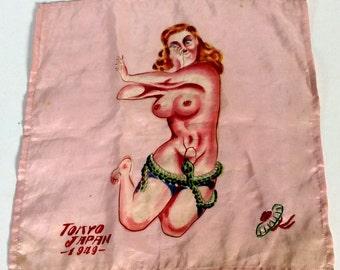 Vintage Hand Painted Silk Japanese Naughty Handkerchiefs