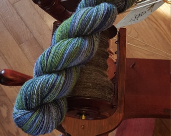 sock yarn -blue green