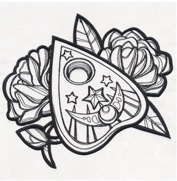 Tattoo Ideas To Draw: Mystical Ouija Board Planchette Creepy Tattoo Inspired