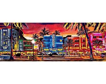 South Beach Art Print, Miami art, Colorful Beach Painting